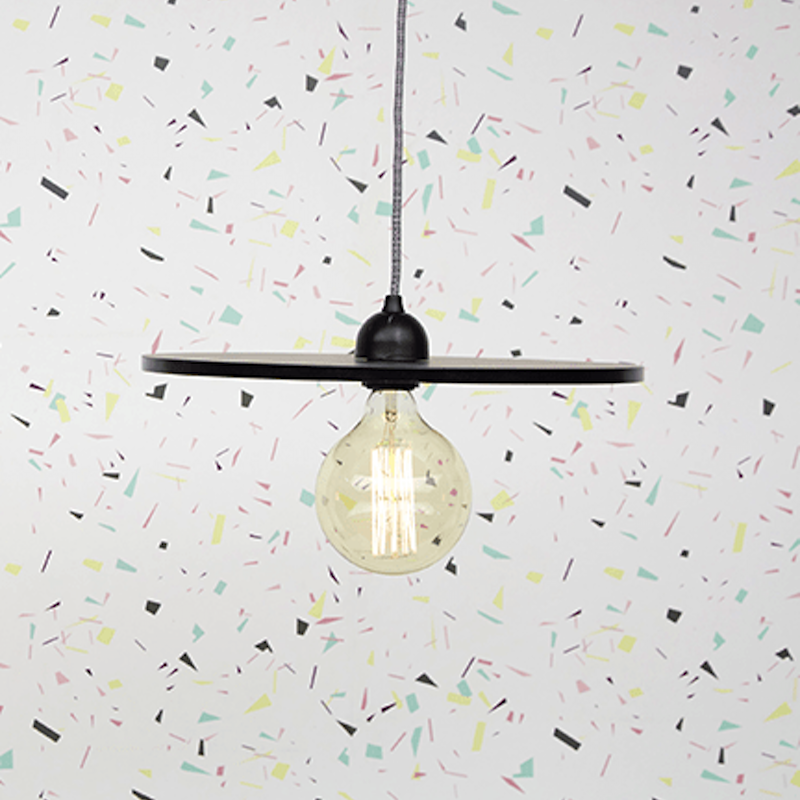 Luminaire suspension vintage bois formica Made in France