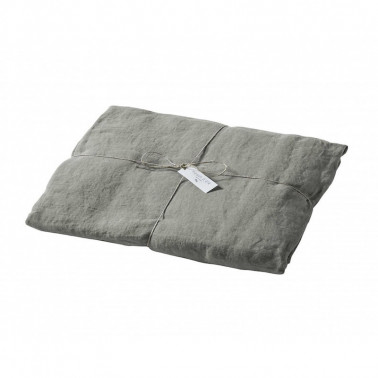 Drap housse lin stone washed gris souris Made in France