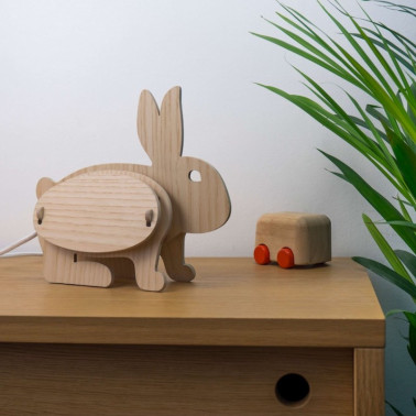 Lampe bois lapin made in france