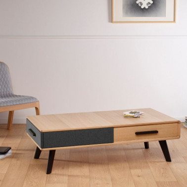 Table basse rectangulaire en chêne massif Made in France